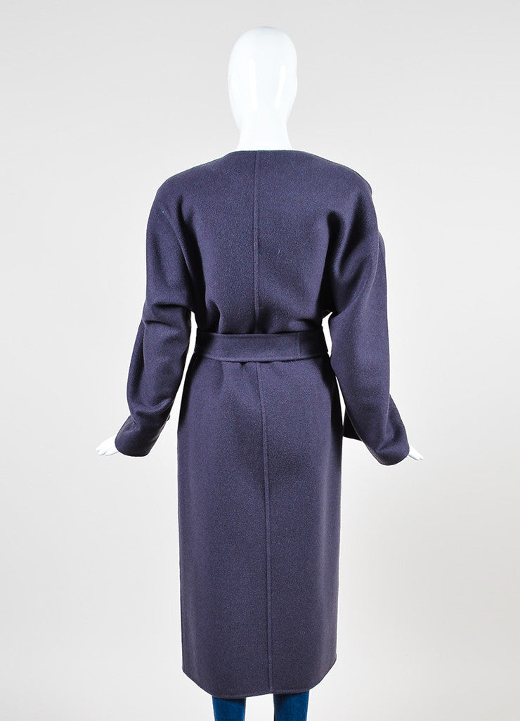 Purple Bottega Veneta Cashmere Collarless Belted Oversized Maxi Cardigan Backview