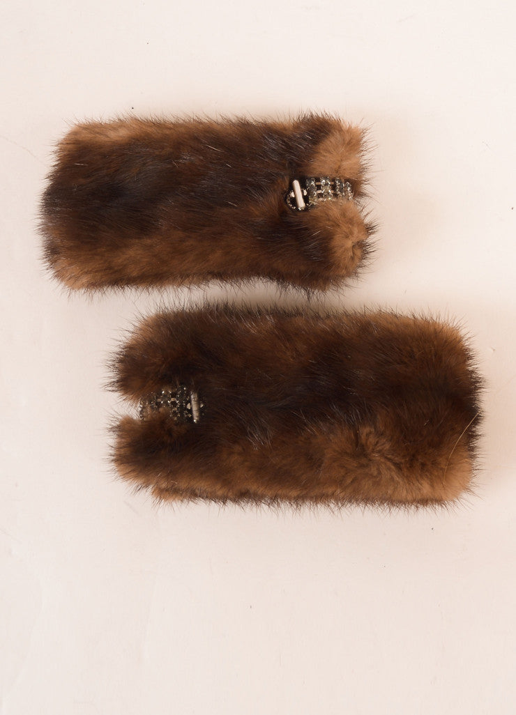Vintage Brown Mink Rhinestone Embellished Cuffs Backview