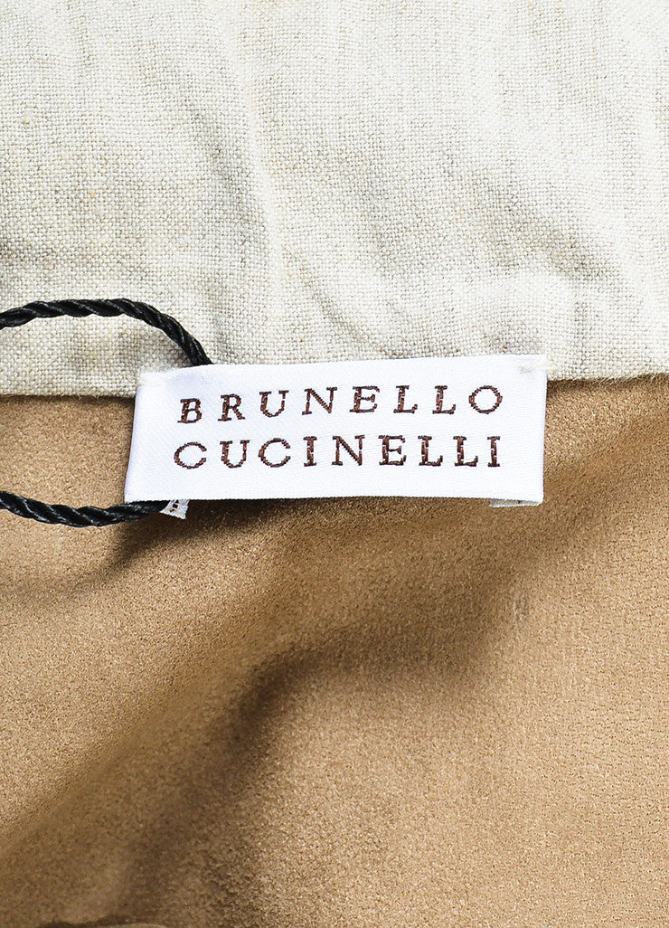 Brunello Cucinelli Tan Suede Drawstring Rope Belted Zip Front Jacket Brand