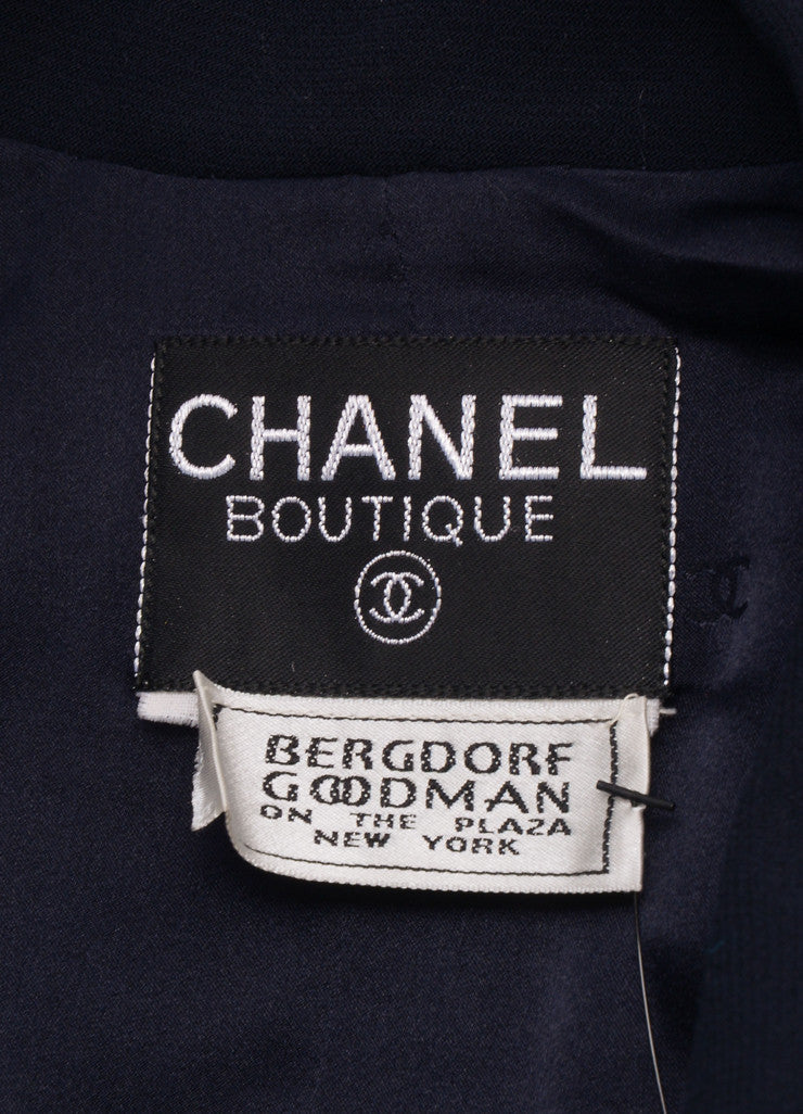 Chanel Navy Double Breasted Belted Jacket Brand
