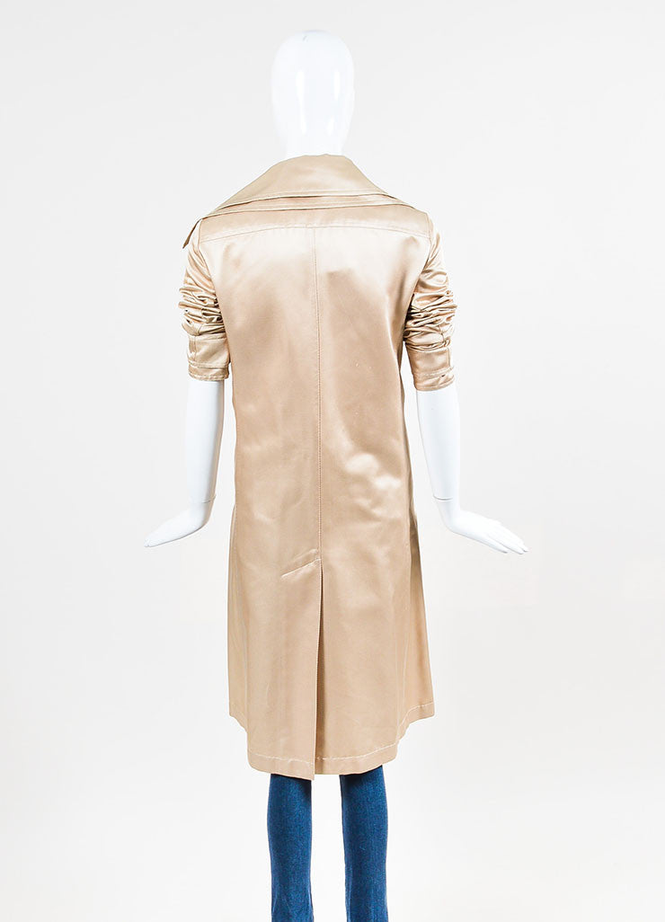 Nude Tan Chanel Silk Twill Double Breasted Trench Coat Backview