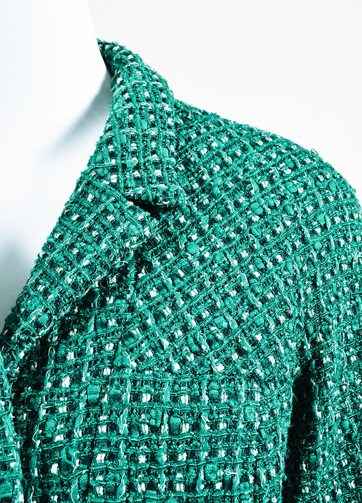 Green and White Chanel Tweed 'CC' Button Jacket Detail