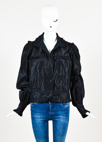 Chanel Black Silk Taffeta Ruffle 'CC' Button Lightweight Jacket Frontview 2