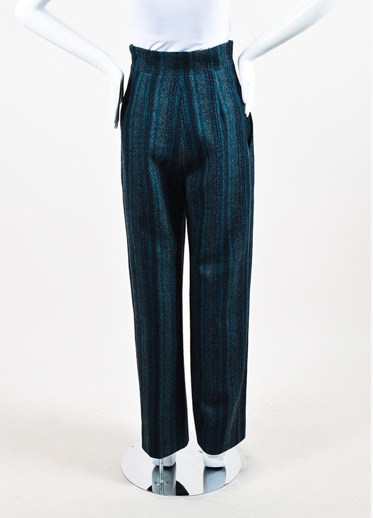 Chanel Navy Blue and Teal Wool Wide Leg Pants Backview