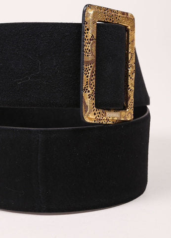 Chanel Black and Metallic Gold Suede Moscow Collection Belt Detail