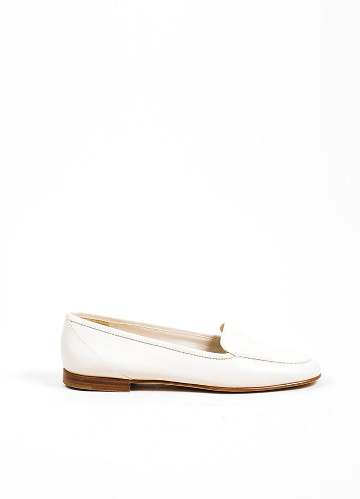 Beige Leather Chanel 'CC' Embroidered Round Toe Moccasin Loafers Sideview