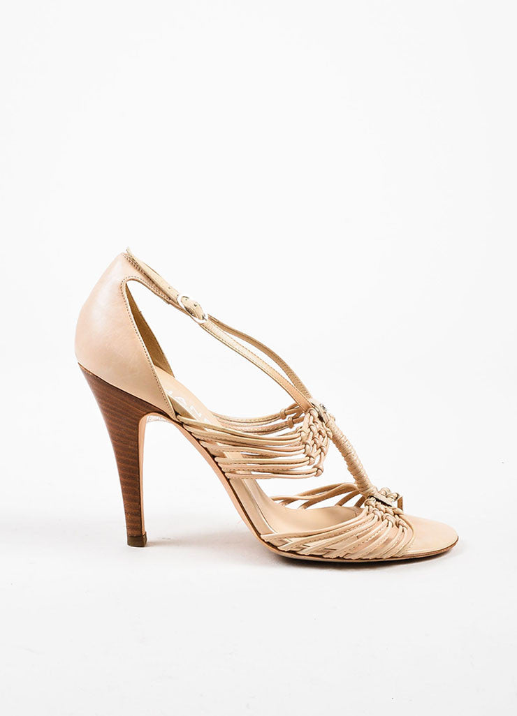 Chanel Beige Nude Leather Strappy Knotted High Heel Sandals Sideview