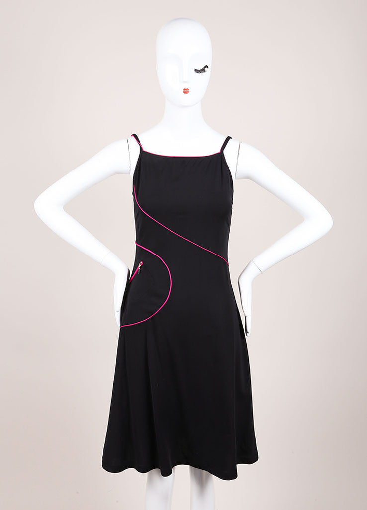 Chanel Black and Hot Pink Jersey Spaghetti Strap A-Line Short Dress Frontview