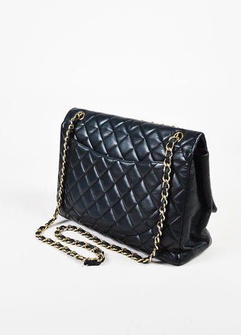 "Chanel Black Leather ""Classic Quilted Maxi Flap"" Bag Sideview"