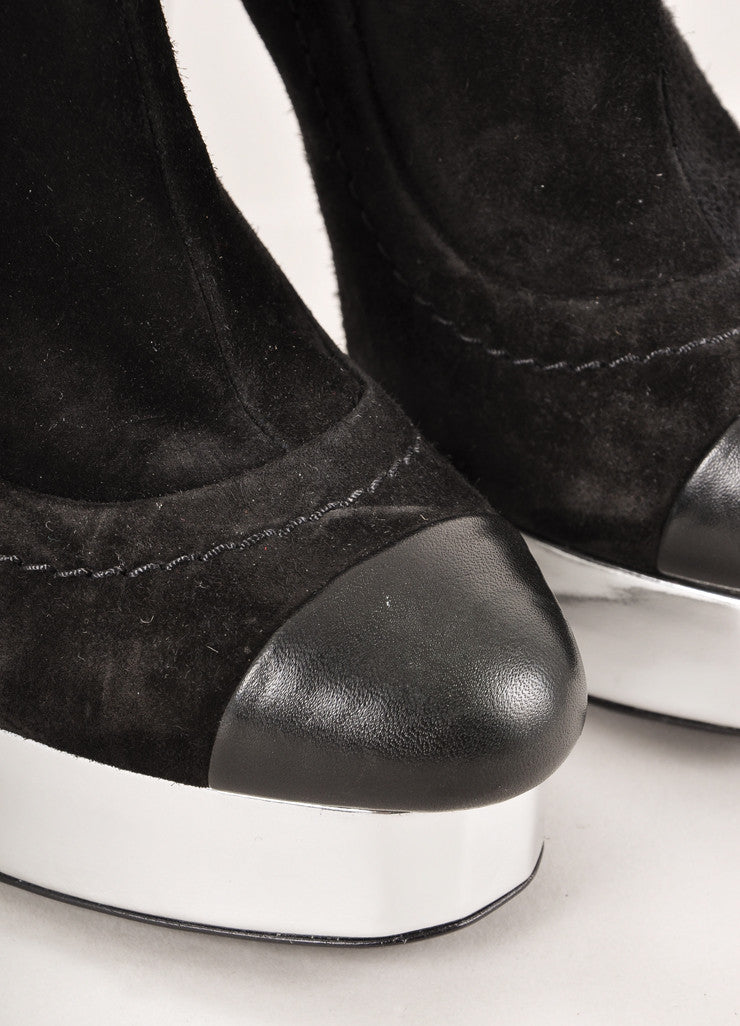 Chanel Black and Silver Metallic Suede Leather Cap Toe Heeled Ankle Booties Detail