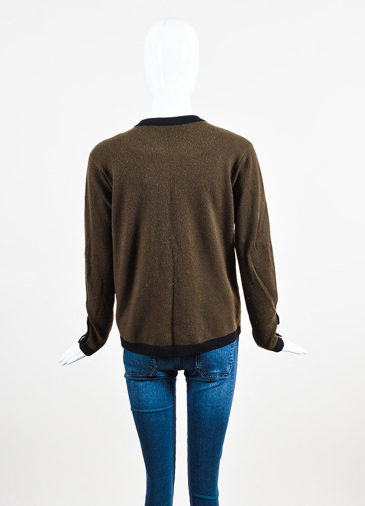 Chanel Brown and Black Wool 'CC' Button Long Sleeve Cardigan Sweater Backview