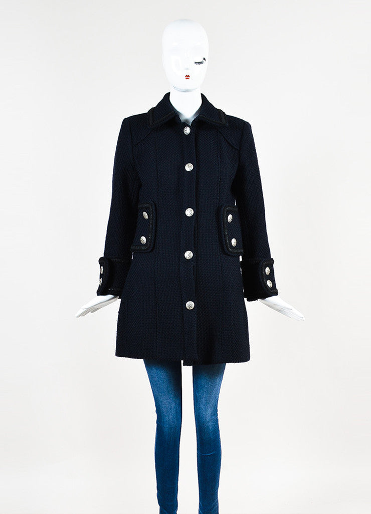 Chanel Navy and Black Woven Wool Tweed Trim Long Sleeve Coat Frontview 3