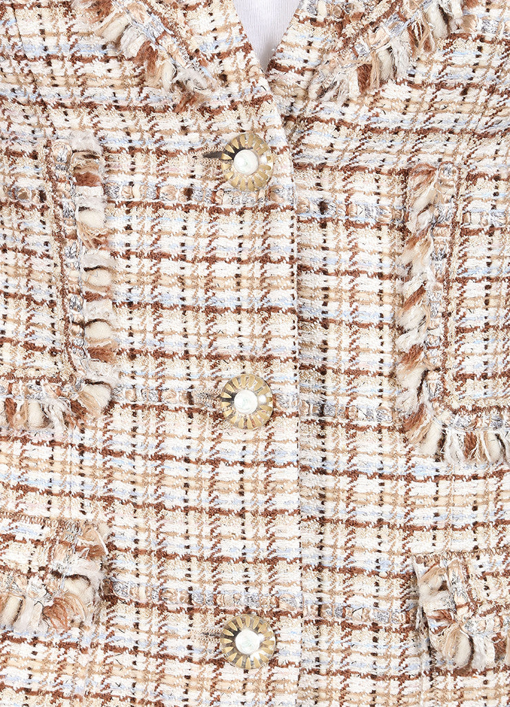 Chanel New With Tags Brown and Cream Silk and Wool Tweed Fringe Trim Skirt Suit Detail