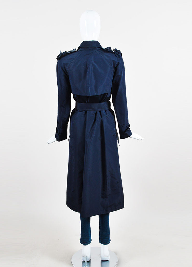 Navy Blue Chanel Silk Camellia Applique Belted 'CC' Button Trench Coat Backview