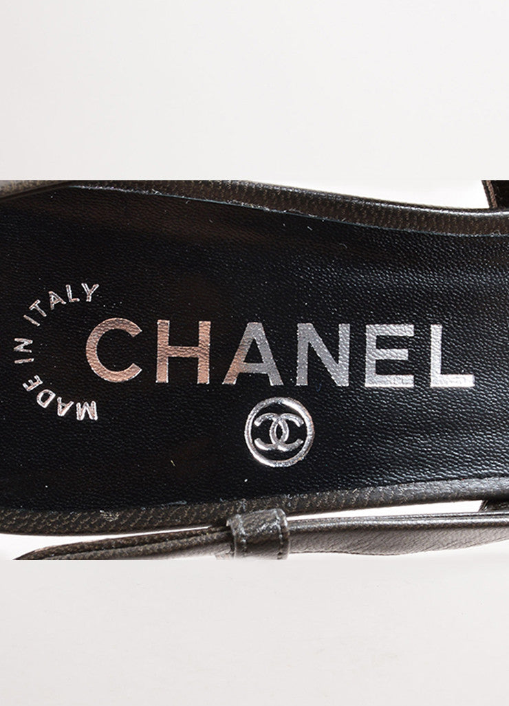 "Chanel Pewter and Black Leather Round Cap Toe ""CC"" Slingback Pumps Brand"