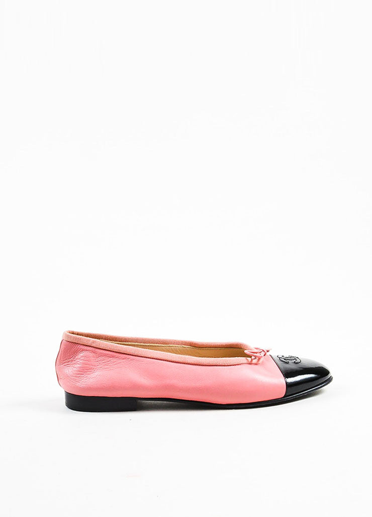 Pink and Black Chanel 'CC' Cap Toe Ballerina Flats Side