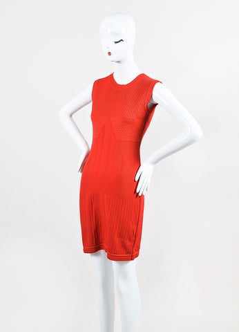Chanel Red Stretch Textured Knit Sleeveless Sheath Dress