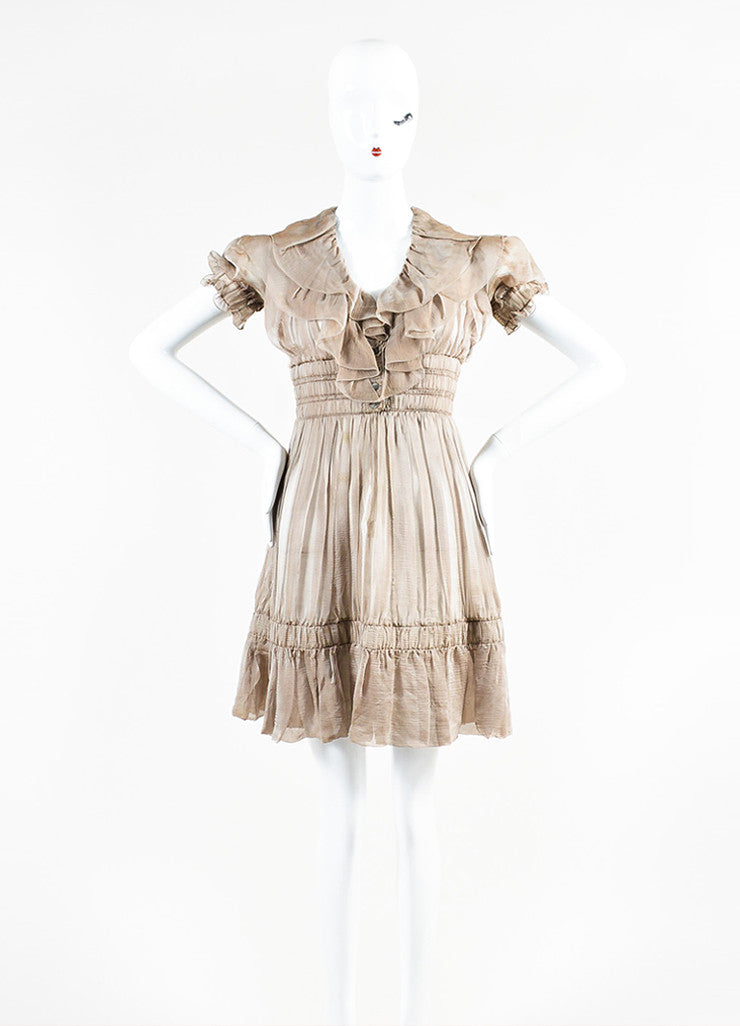 Chanel Sample Taupe Silk V-Neck Short Sleeve Ruffle Flare Hem Dress Frontview