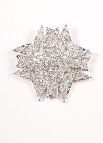 Chanel Silver Toned Clear Crystal Rhinestone Embellished Starburst Pin Brooch Frontview
