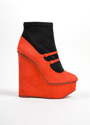 "Black and Red Charlotte Olympia ""Gretel"" Platform Wedge Boots Sideview"