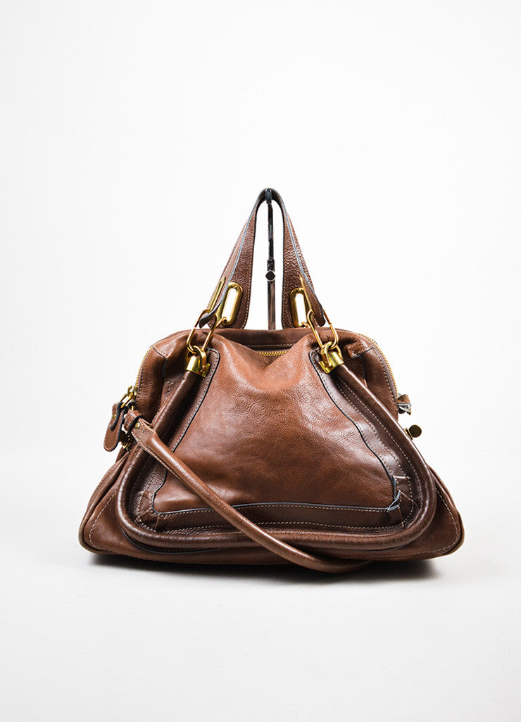 "Chloe Brown Gold Toned Leather ""Paraty"" Hobo Bag Frontview"