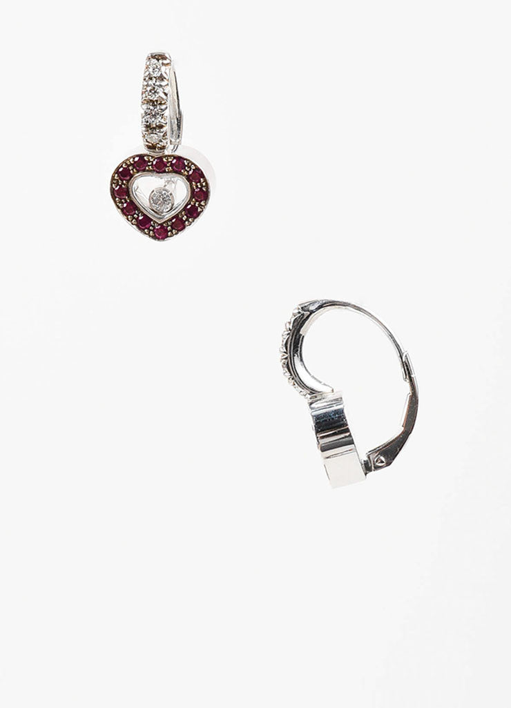 "18K White Gold, Ruby, and Floating Diamond Chopard ""Happy Hearts"" Drop Earrings Sideview"