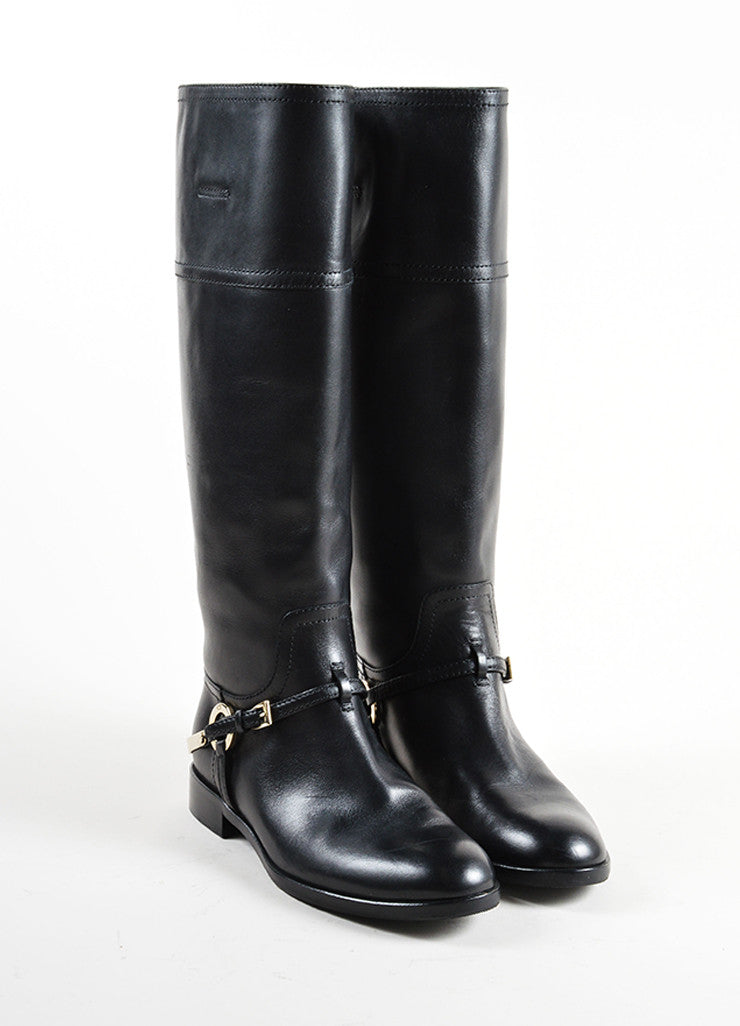 Christian Dior Black and Silver Tone Leather Harness Flat Riding Boots Frontview