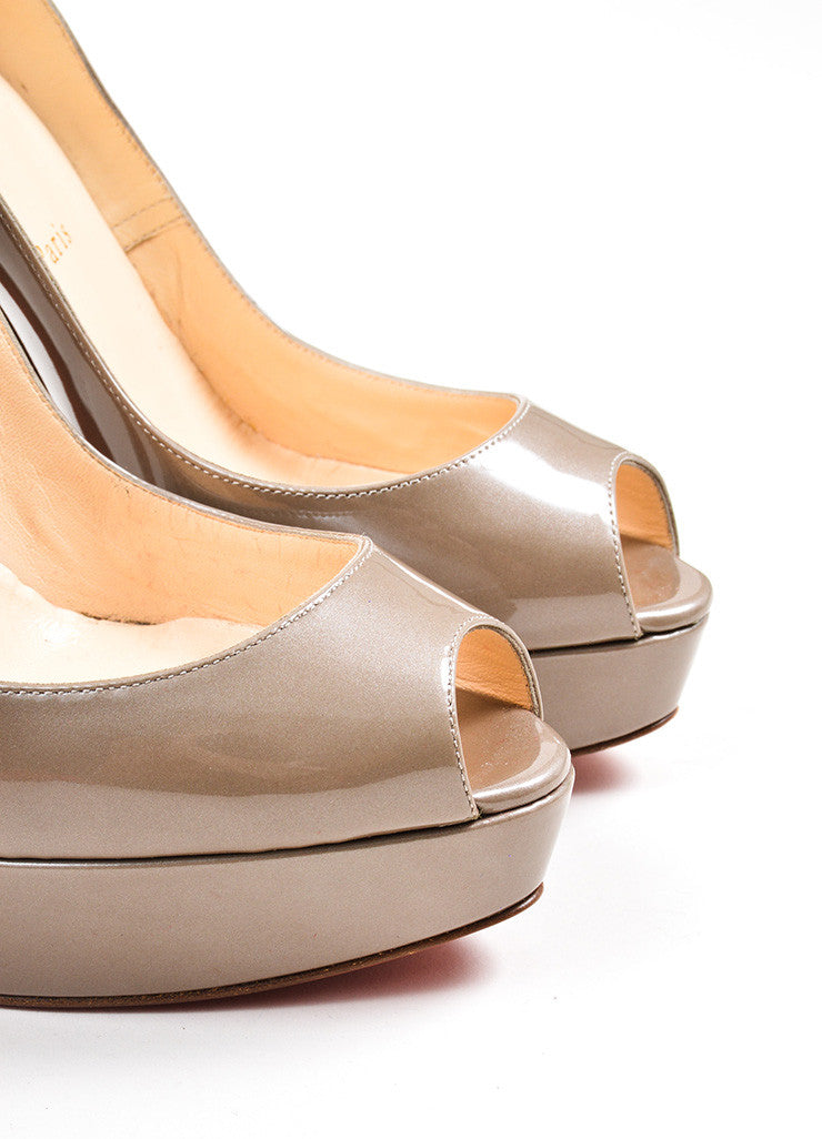 "Taupe Christian Louboutin Patent Leather Peep Toe ""Bambou"" Pumps Detail"