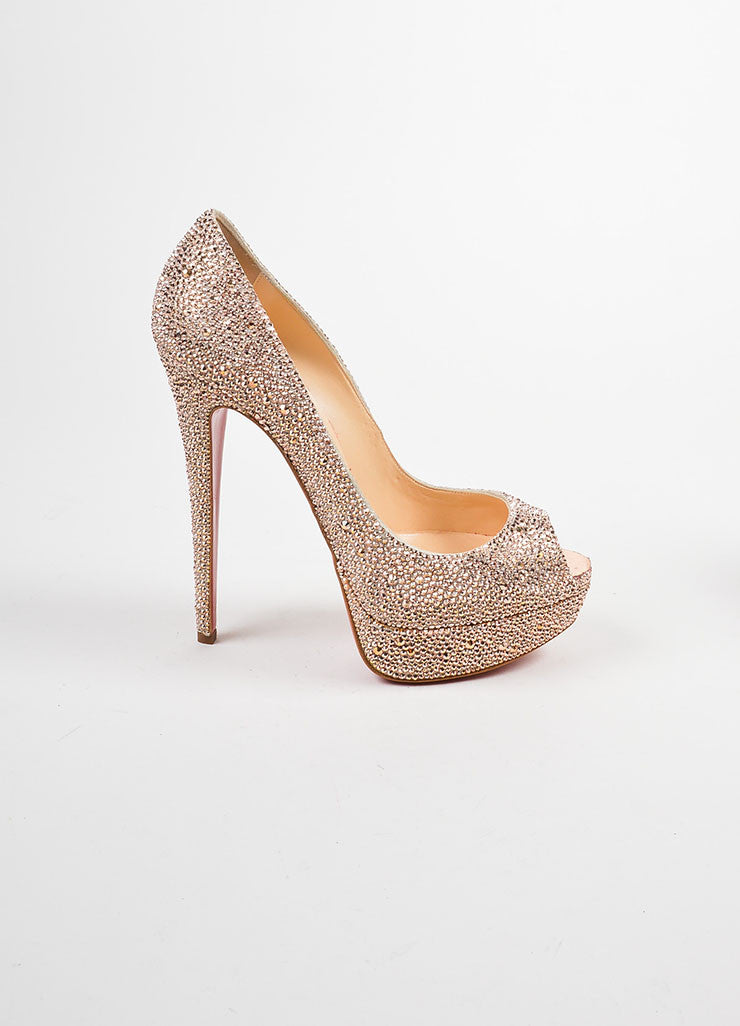 "Pink Crystal Christian Louboutin ""Lady Peep Strass 150"" Pumps Sideview"