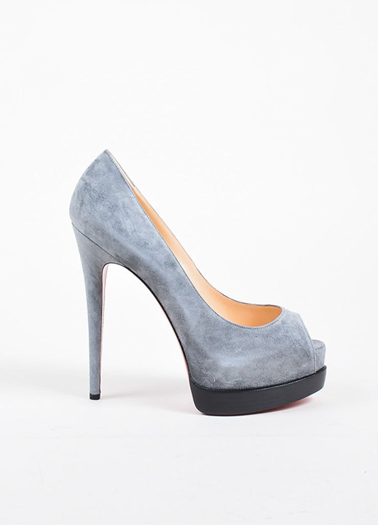 "Grey Suede Christian Louboutin ""Palais Royal Trepointe 140"" Pumps Sideview"