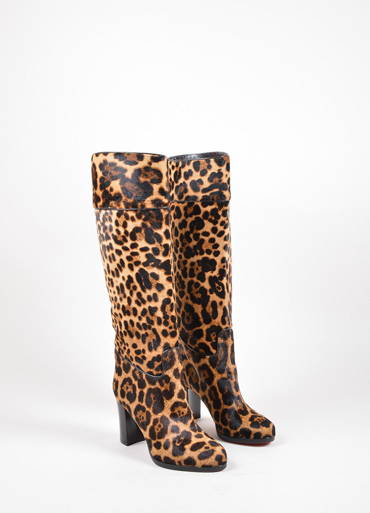 "Christian Louboutin Tan and Black Pony Hair Leopard ""Dartata"" Boots Frontview"