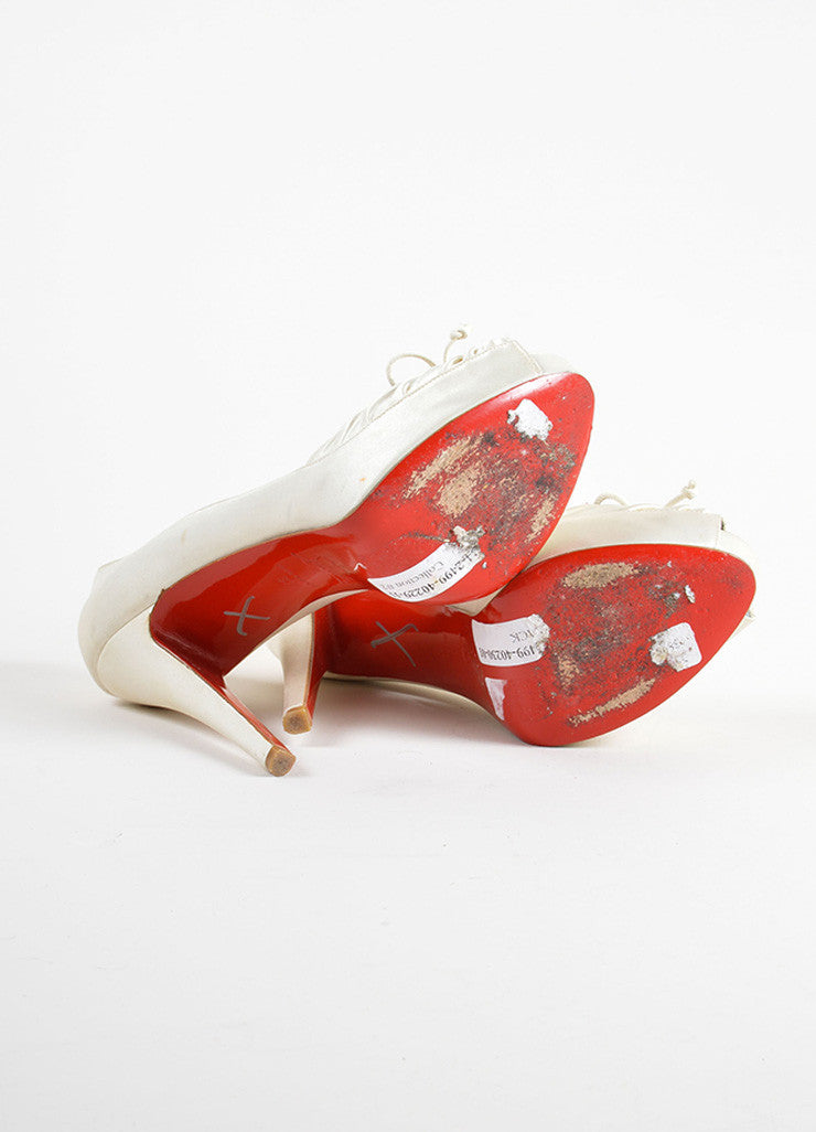 "Christian Louboutin White Satin Ruched Bow Tie ""Very Pli"" Platform Pumps Outsoles"