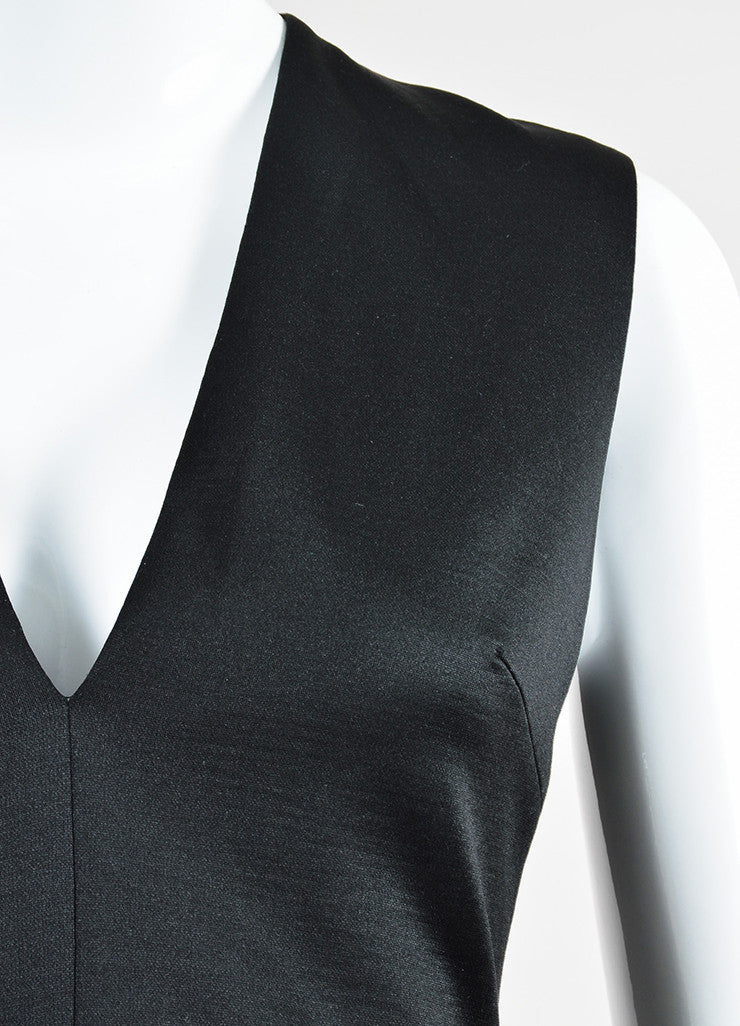 Black Cushnie Et Ochs Jersey Wool Pleated Sleeveless Peplum Top Detail