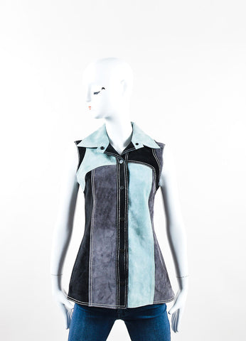 Derek Lamb Black, Grey and Green Suede Sleeveless Top Front
