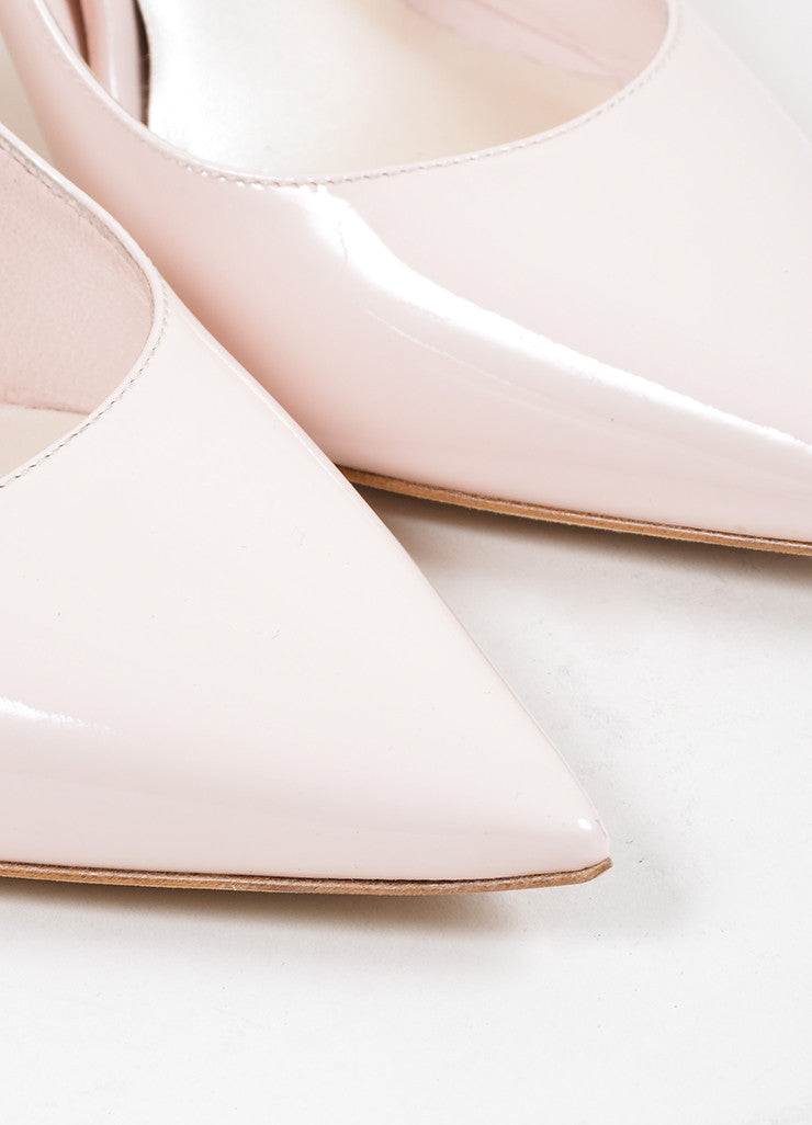 Rose Pink Christian Dior Patent Leather Pointed Toe Pumps Detail