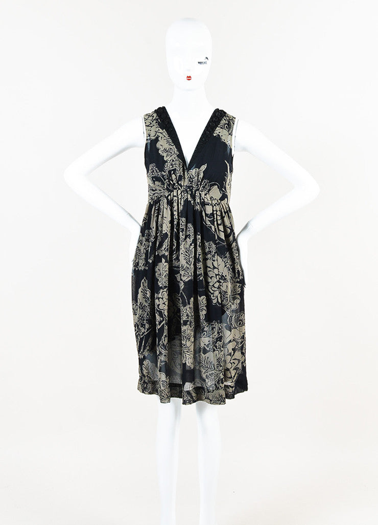 Black and Grey Etro Silk Chiffon Sleeveless Beaded Elastic Waist Dress Frontview