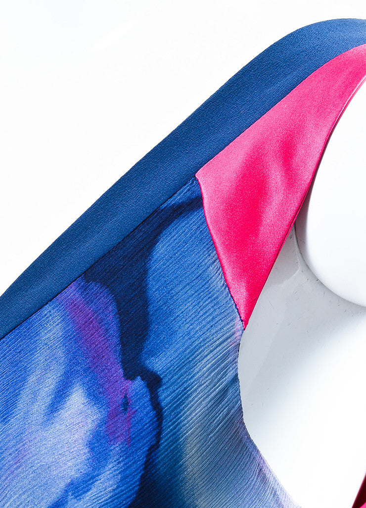 Blue and Pink Etro Silk Crinkled Chiffon Watercolor V-Neck Sleeveless Dress Detail