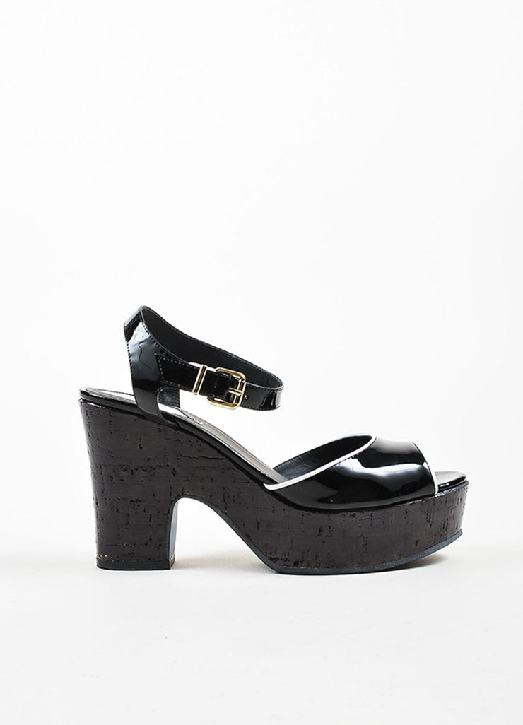 Black and White Fendi Patent Leather Ankle Strap Chunky Heel Sandals Sideview