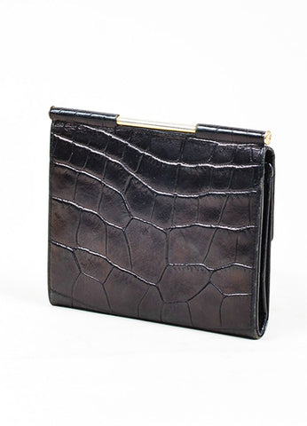 Black Gianni Versace Crocodile Embossed Leather Medusa Trifold Wallet Sideview