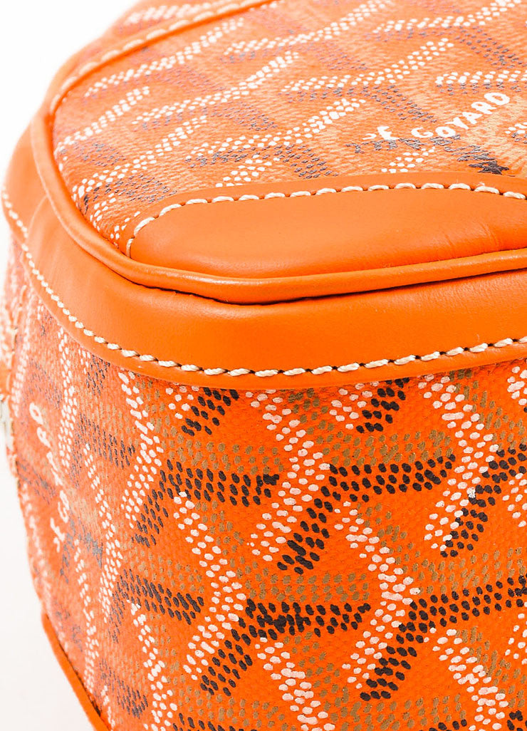 "Goyard Orange Coated Canvas and Leather Chevron Print ""Sainte Jeanne PM"" Satchel Bag Detail"