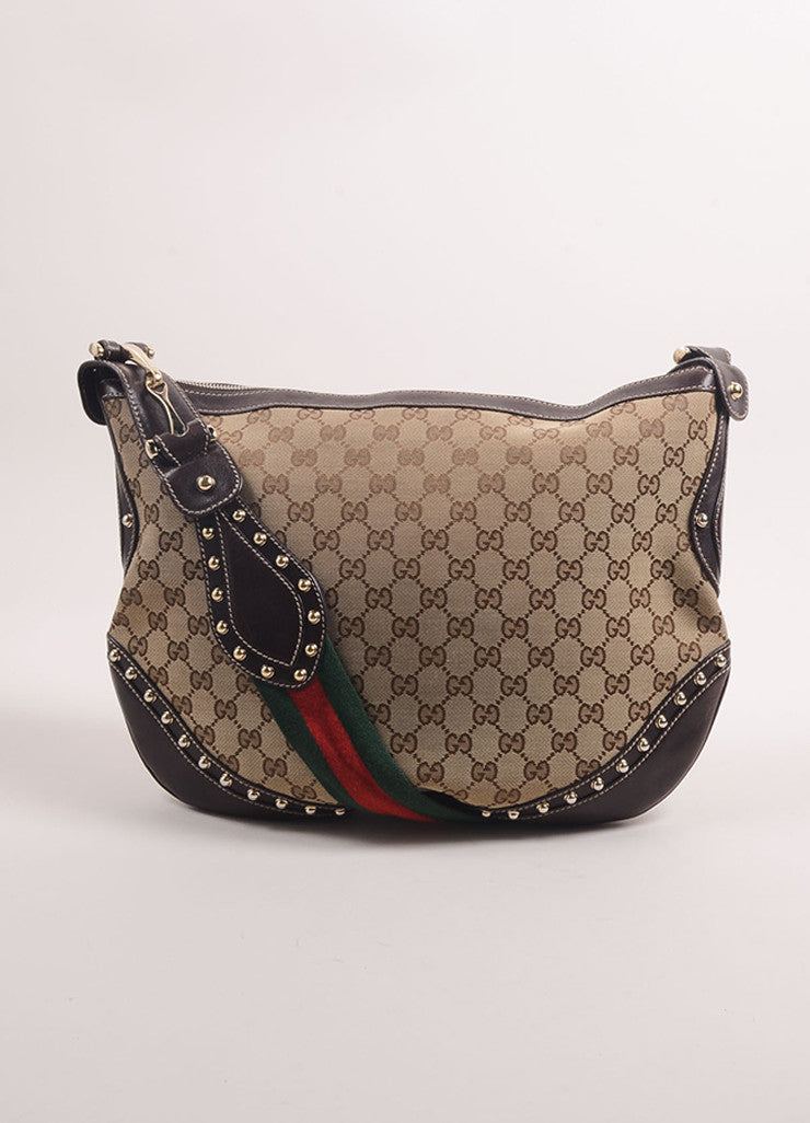 "Gucci Tan Canvas Studded ""GG"" Monogram ""Pelham"" Medium Messenger Bag Frontview"