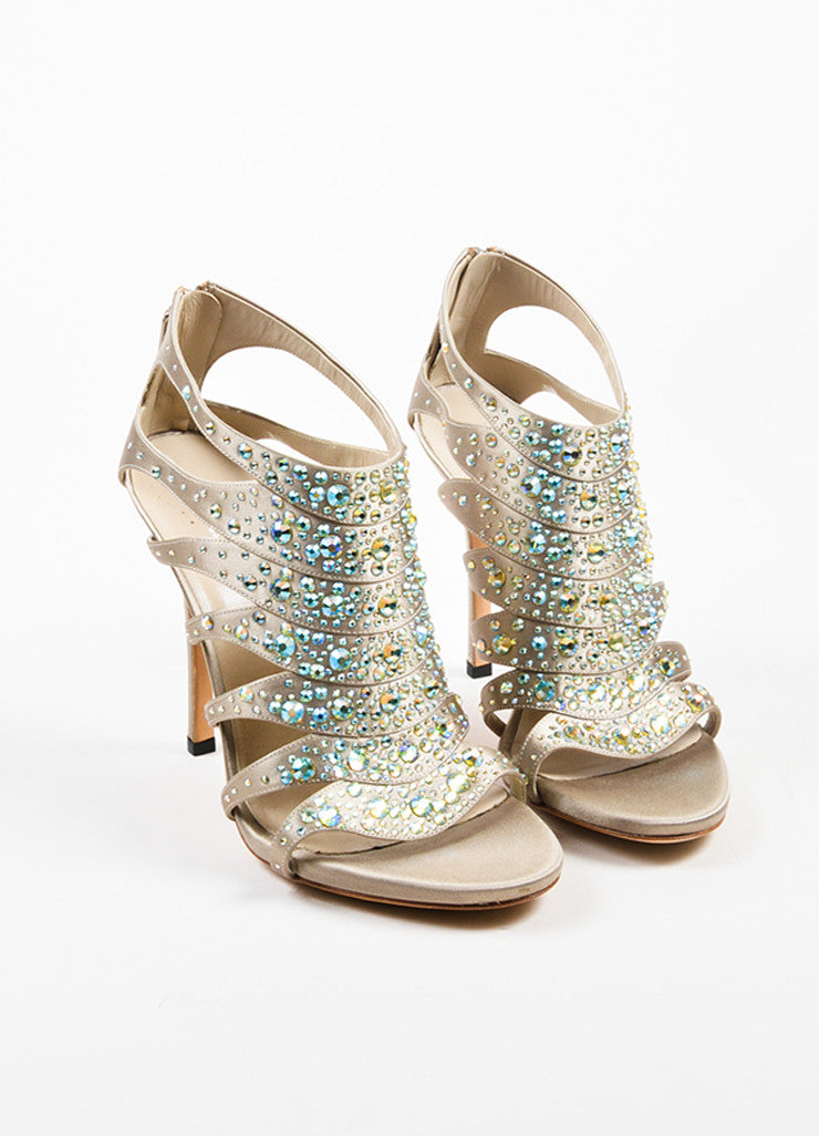 Grey and Taupe Gucci Satin Iridescent Rhinestone Cage Sandal Heels Frontview