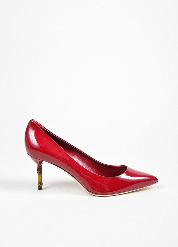 "Gucci Berry Patent Leather Pointed Bamboo Heel ""Kristen"" Pumps Sideview"