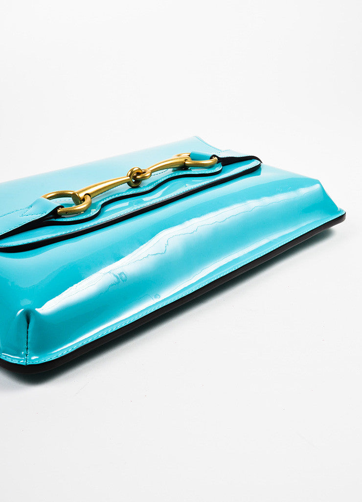 "Gucci Turquoise Patent Leather Gold Toned Horsebit Flap ""Bright Bit"" Clutch Bag Bottom View"