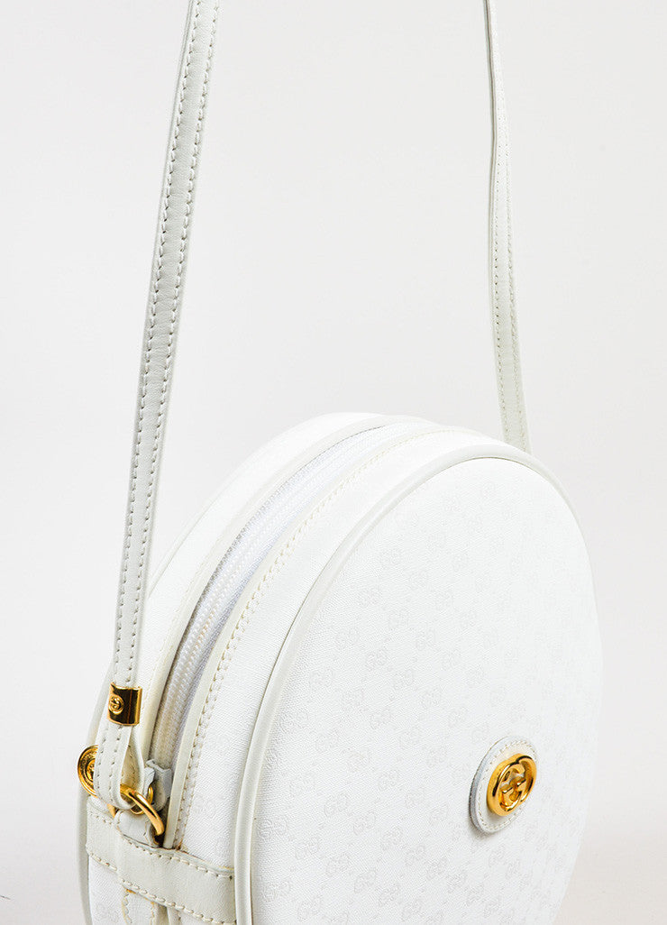 "Gucci White Canvas 'GG' Leather Round ""Canteen"" Crossbody Bag Detail 3"
