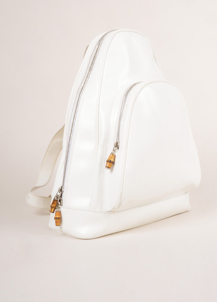 Gucci White Leather Slingback Bamboo Backpack Frontview