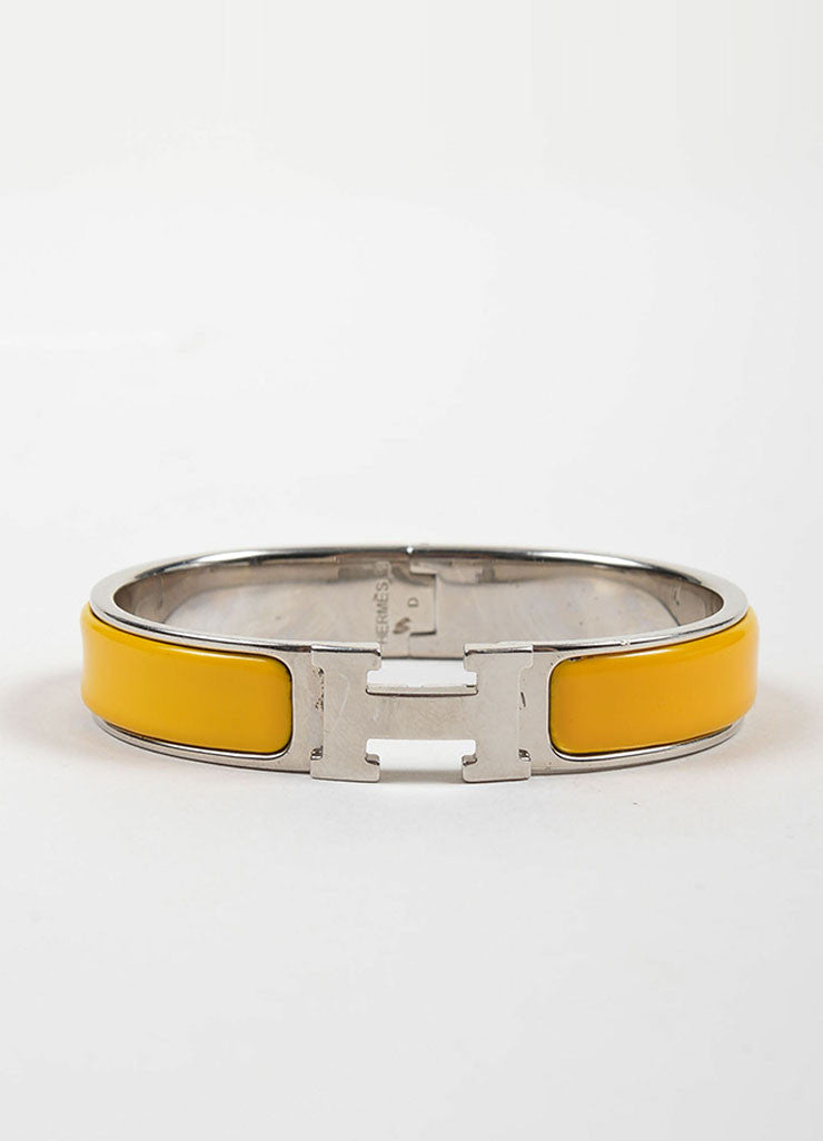 "Silver Toned and Yellow Enamel Hermes ""Clic H PM"" Hinged Narrow Bangle Bracelet Frontview"