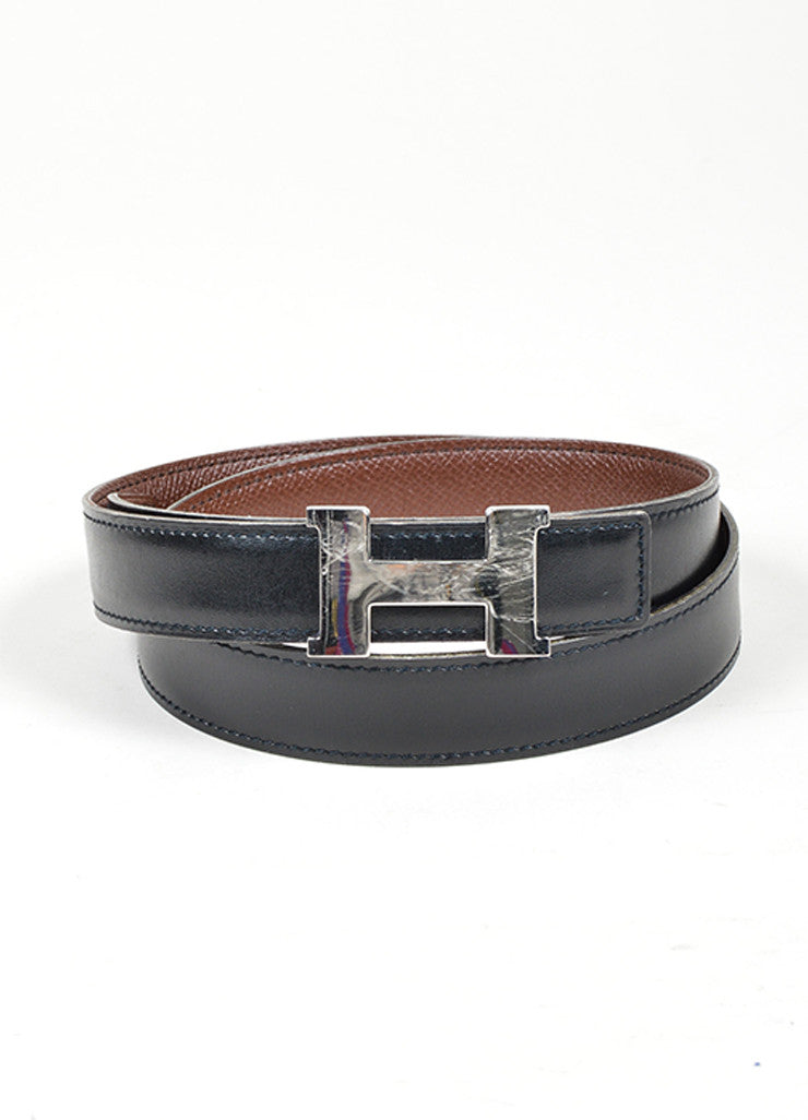 "Black and Brown Leather Reversible Hermes ""Constance"" Belt Frontview"