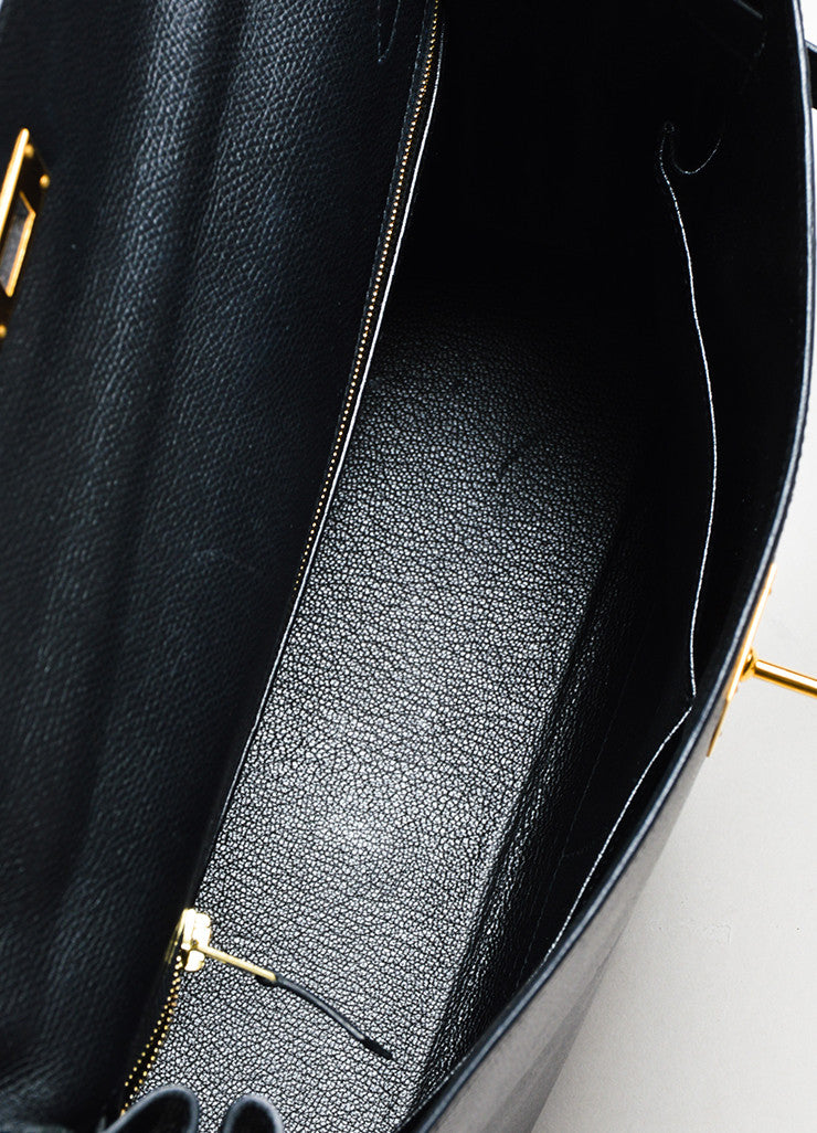 "Hermes Black Courchevel Leather Gold Toned Hardware 32cm ""Kelly"" Handbag Interior"