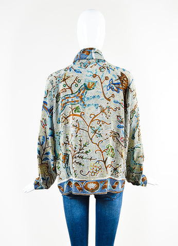 Hermes Blue and Multicolor Silk Floral Mosaic Print Long Sleeve Blouse Top Backview